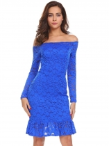 Royal Blue Women Off Shoulder Long Sleeve Ruffle Hem Lace Cocktail Party Bodycon Dress