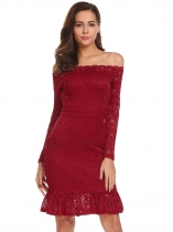 Wine red Women Off Shoulder Long Sleeve Ruffle Hem Lace Cocktail Party Bodycon Dress