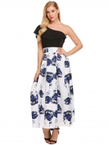 Noir One Shoulder Sleeveless Print Patchwork Ruffles Going Out Dress