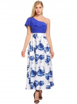 Royal Blue Одно плечо без рукавов Print Patchwork Ruffles Going Out Dress