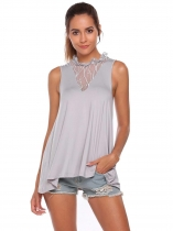 Grey Ruffles Neck Lace Patchwork Sleeveless Asymmetrical Hem Tops
