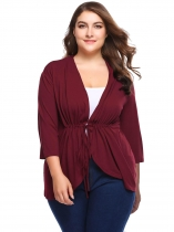 Wine red Long Sleeve Solid Waist Drawstring Knit Cardigan