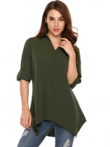 Army green Long Sleeve Loose Solid V-Neck High-Low Asymmetrical Shirt