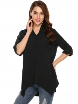Preto Womens Casual Long Sleeve Loose Solid V-Neck Camisa Low-Low assimétrica