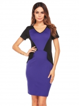 Blue Short Sleeve V-neck Patchwork Pencil Dress