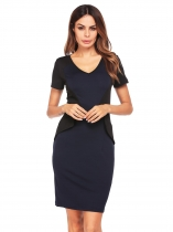 Dark blue Short Sleeve V-neck Patchwork Pencil Dress