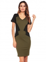 Army green Short Sleeve V-neck Patchwork Pencil Dress