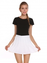 White Medium Waist Mini Pleated Tennis Sports Skirt with Lining