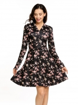 Black Vintage Style Floral Long Sleeve V-neck Swing Dress