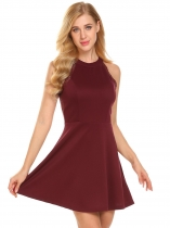 Wine red Femmes sans manches dos ouvert dentelle Patchwork Fit et Flare Cocktail Party Dress