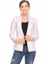 White Solid Single Button Padded Shoulders Blazer