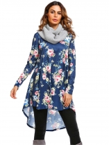 Dark blue Long Sleeve Floral Loose High Low Hem Dress