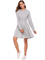 Gray Long Sleeve Solid Hoodie Dress with Pockets