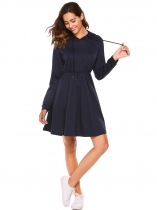Navy blue Long Sleeve Solid Hoodie Dress with Pockets