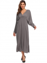 Grey Women Deep V Neck Bawting Sleeve Solid Elastic Waist Back Hole Pleated Dress