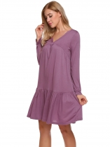 Purple V-Neck Long Sleeve Pleated Solid Casual Loose Dress