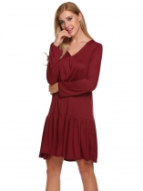 Wine red Femmes V Neck à manches longues plissées solides Casual Loose Fit Dress