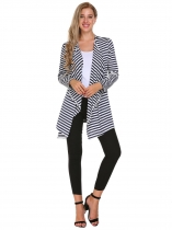 Blue Striped Open Front Long Sleeve Cardigan