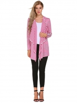 Pink Striped Open Front Long Sleeve Cardigan