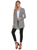 Black Striped Open Front Long Sleeve Cardigan