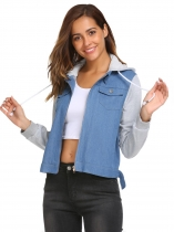Dark blue Patchwork Drawstring Hooded Denim Jean Jacket