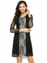 Black 3/4 Sleeve Lace Chiffon Patchwork Shift Dress