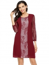 Wine red 3/4 Sleeve Lace Chiffon Patchwork Shift Dress