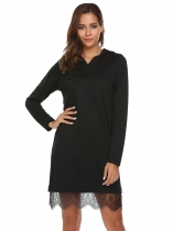 Black Long Sleeve Lace Trim Hoodie Dress