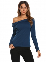 Navy blue Women Slash Neck Long Sleeve Solid Slim T-Shirt