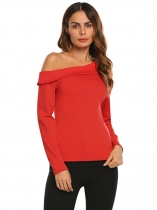 Red Women Slash Neck Long Sleeve Solid Slim T-Shirt