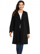 Black Long Sleeve Open Front Solid Side Split Long Waterfall Trench Coat