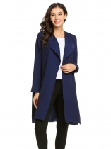 Dark blue Long Sleeve Open Front Solid Side Split Long Waterfall Trench Coat
