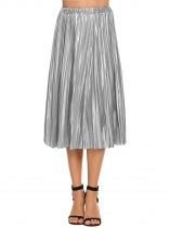 Silver High Elastic Waist Pleated A-Line Midi Skirt