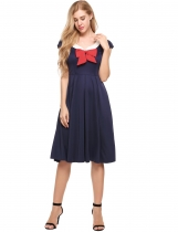 Navy blue Vintage Style Notch Neck Bow Tie Short Sleeve Pleated Dress