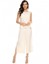 White Solid Sleeveless Back V Blouse and Wide Leg Pants Set