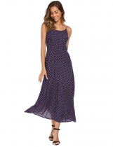 Navy blue Spaghetti Strap Floral Beach Maxi Dress