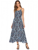 Blue Spaghetti Strap Floral Beach Maxi Dress