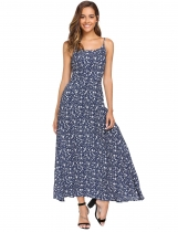 Dark blue Spaghetti Strap Floral Beach Maxi Dress
