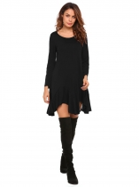 Black Long Sleeve Solid Irregular Hem Dress