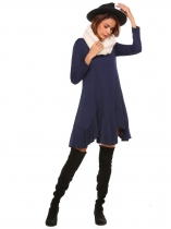 Navy blue Long Sleeve Solid Irregular Hem Dress