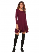 Wine red Long Sleeve Solid Irregular Hem Dress