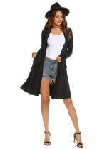 Black Long Sleeve Front Open Loose Cardigan