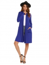 Navy blue Long Sleeve Front Open Loose Cardigan