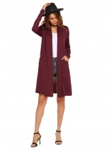 Wine red Long Sleeve Front Open Loose Cardigan