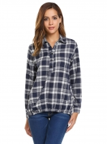 White Women Turn Down Collar Long Sleeve Plaid Asymmetric Loose Casual Button Shirts