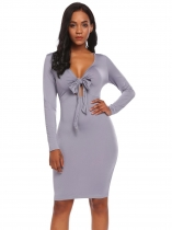 Gray V-Neck Long Sleeve Knotted Keyhole Bodycon Dress