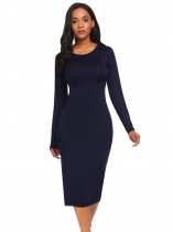 Navy blue O-Neck Long Sleeve Solid Bodycon Maxi Dress