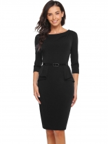 Noir Femmes O-Neck 3/4 Sleeve Solid Sheath Bodycon Falbala Slim Dress with Belt