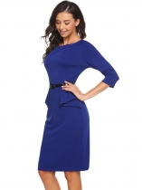 Bleu foncé Femmes O-Neck 3/4 Sleeve Solid Sheath Bodycon Falbala Slim Dress with Belt