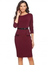 Wine red 3/4 Sleeve Falbala Slim Dress with Belt